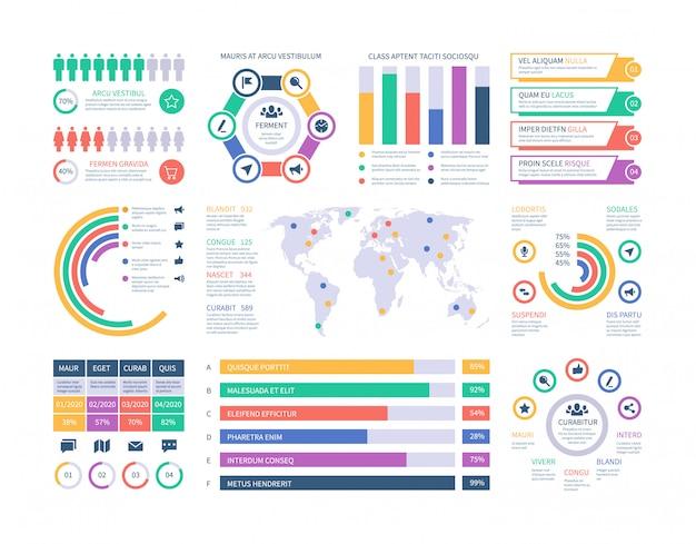 Szablon Plansza. Wykresy Inwestycji Finansowych, Schemat Organizacyjny Schematów Kolumnowych. Element Infografiki Prezentacji Premium Wektorów