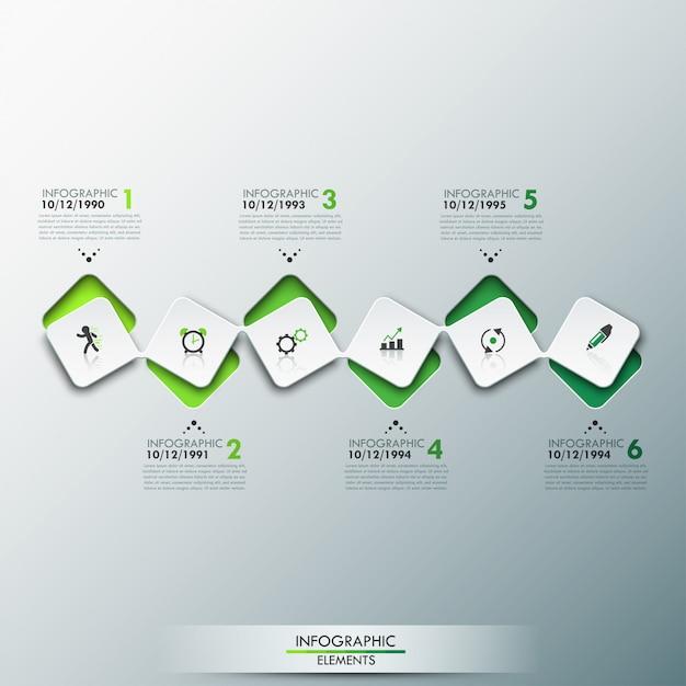 Szablon plansza z osią czasu i 6 połączonymi kwadratowymi elementami w kolorze zielonym Premium Wektorów