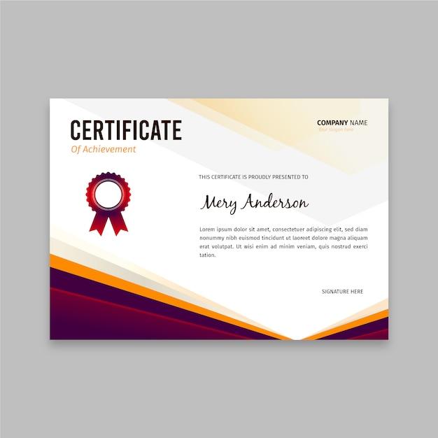 Szablon Płaski Elegancki Certyfikat Premium Wektorów