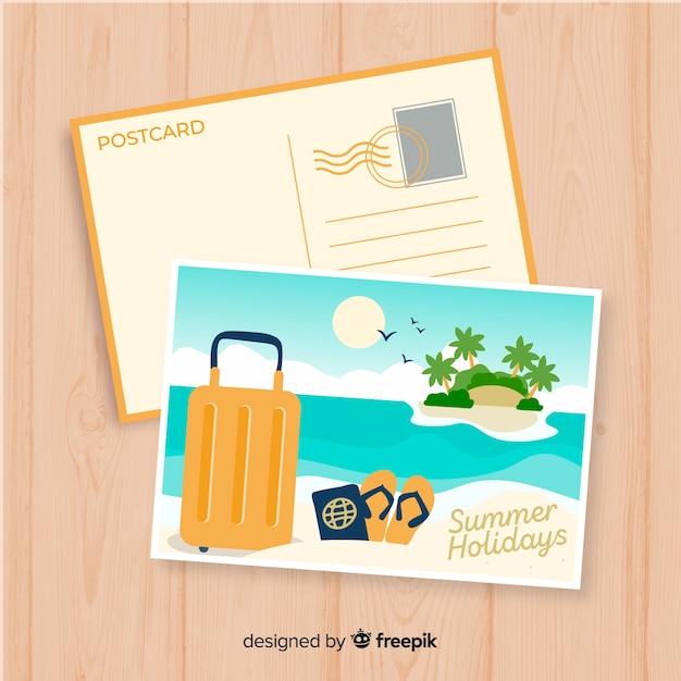 Szablon pocztówki z wakacji letnich Darmowych Wektorów
