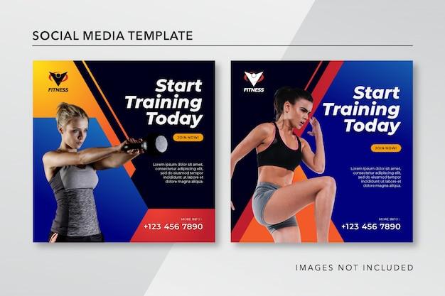 Szablon Post Fitness Instagram Premium Wektorów