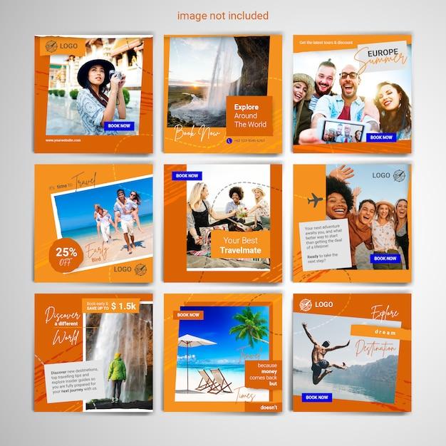 Szablon Post Mediów Społecznościowych Podróży Premium Wektorów