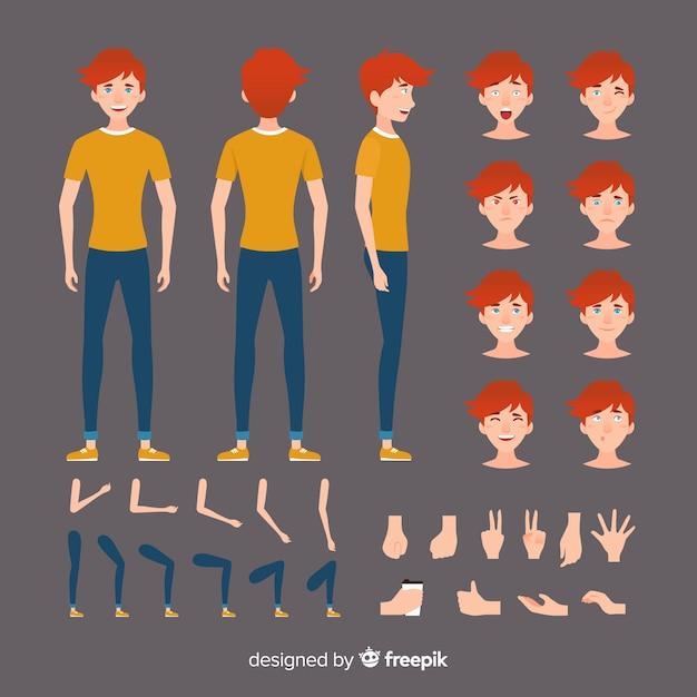 Szablon postać z kreskówki chłopiec Darmowych Wektorów