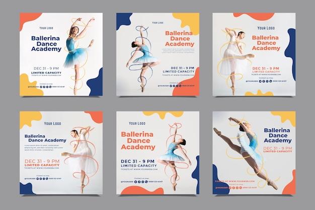 Szablon Postów Na Instagramie Akademii Tańca Darmowych Wektorów