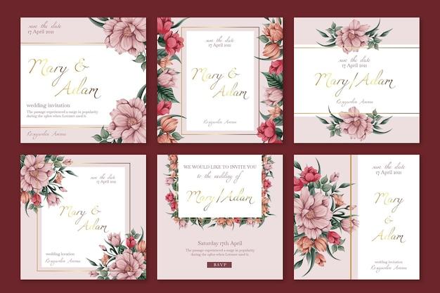 Szablon Postów Na Instagramie Kwiatowy ślub Premium Wektorów