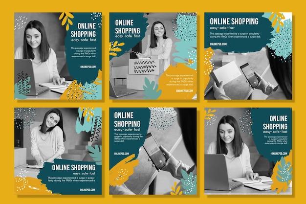 Szablon Postów Na Zakupy Online Na Instagramie Darmowych Wektorów