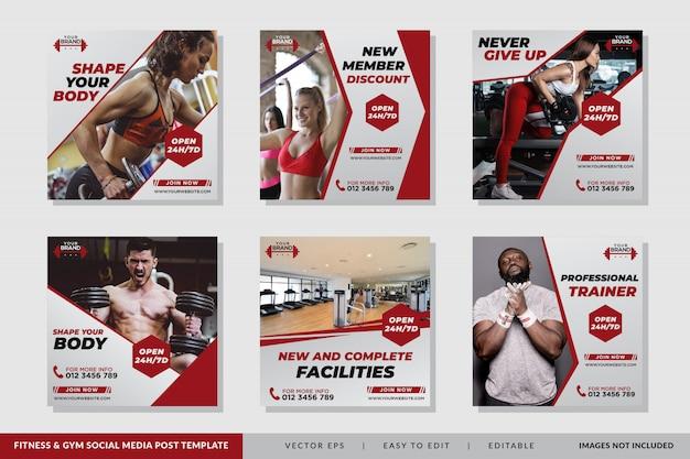 Szablon Postu Mediów Społecznościowych Fitness Premium Wektorów