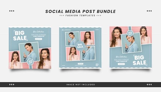 Szablon Postu Mediów Społecznościowych Moda Uroda Z Kobiecym Stylu Premium Wektorów