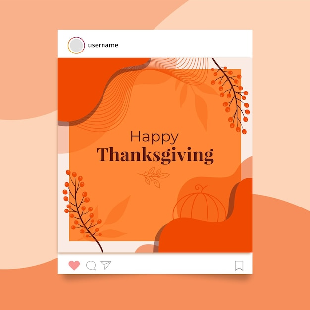 Szablon Postu Na Instagramie Z Okazji święta Dziękczynienia Darmowych Wektorów