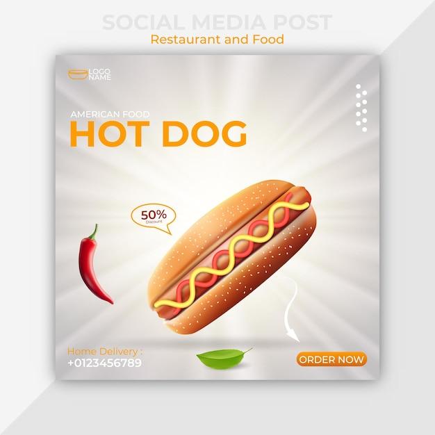 Szablon Postu W Mediach Społecznościowych Z Amerykańską żywnością Hot Dog Premium Wektorów