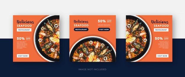 Szablon Postu W Mediach Społecznościowych Z Owocami Morza Lub Fast Foodami Premium Wektorów
