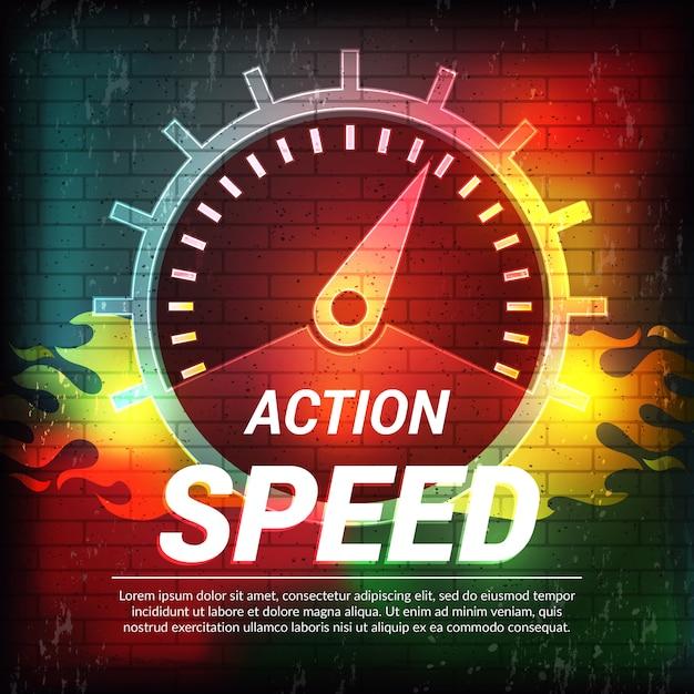 Szablon Prędkości. Streszczenie Jazdy Koncepcja Sport Afisz Prędkościomierz Wskaźnik Paliwa Premium Wektorów