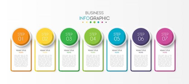 Szablon prezentacji biznesowych infografikę z 7 opcji lub kroków Premium Wektorów