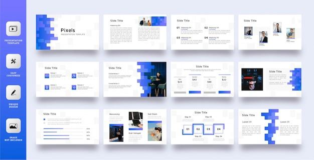 Szablon Prezentacji Uniwersalnej Z Niebieskimi Pikselami Premium Wektorów