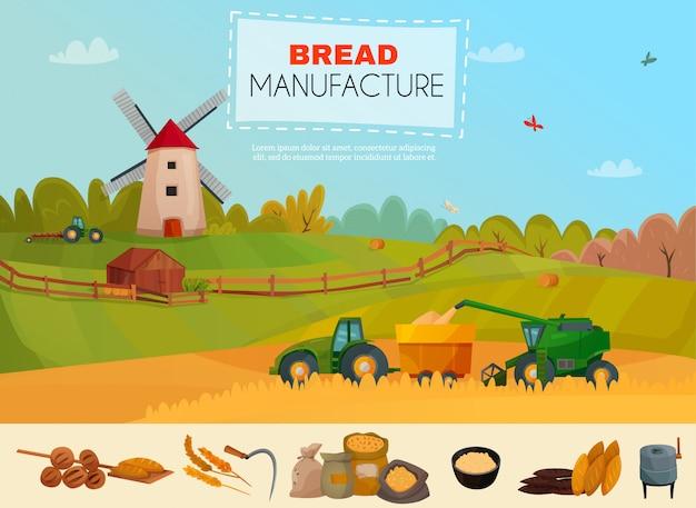 Szablon Produkcji Chleba Darmowych Wektorów
