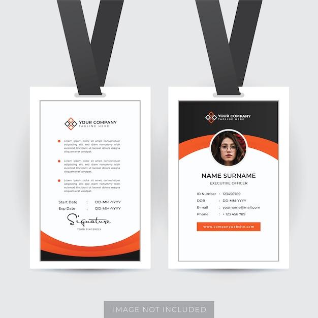 Szablon Profesjonalnego Dokumentu Tożsamości Pracownika Premium Wektorów