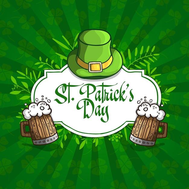 Szablon Projektu Banery, Logo, Znaki, Plakaty Na Dzień świętego Patryka. Kapelusz, Piwo I Rośliny W Stylu Kreskówkowym. Premium Wektorów
