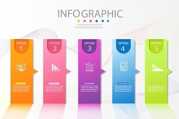 Szablon Projektu Biznes 5 Opcji Infographic Element Wykresu. Premium Wektorów