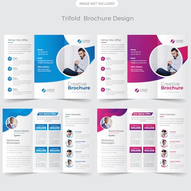 Szablon projektu broszury trifold Premium Wektorów