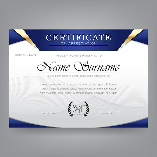 Szablon projektu certyfikatu w nowoczesnym stylu Premium Wektorów