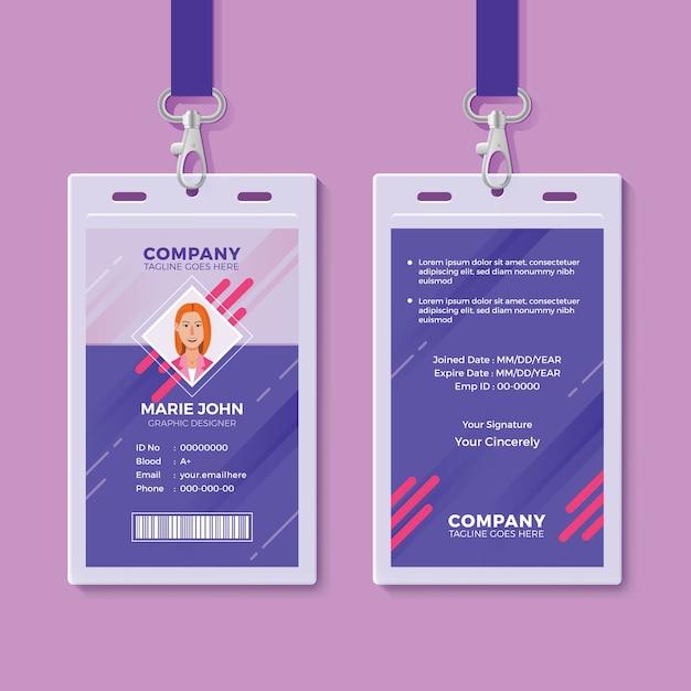 Szablon projektu creative id card Premium Wektorów