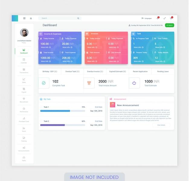 Szablon Projektu Deski Rozdzielczej Pracownika Do Projektowania Interfejsu Użytkownika Premium Premium Wektorów