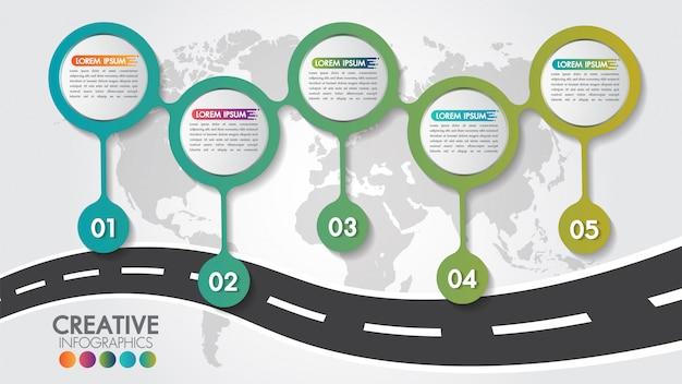 Szablon projektu drogi nawigacyjnej business infographic z 5 krokami lub opcjami i 5 liczbami Premium Wektorów