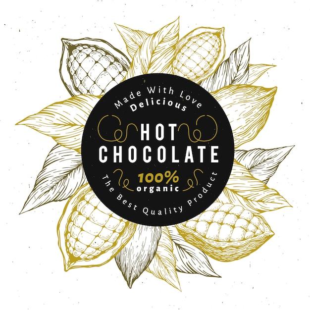 Szablon projektu drzewa kakaowego. tło czekoladowe ziarna kakaowe. Premium Wektorów