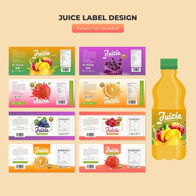 Szablon projektu etykiety butelki soku Premium Wektorów