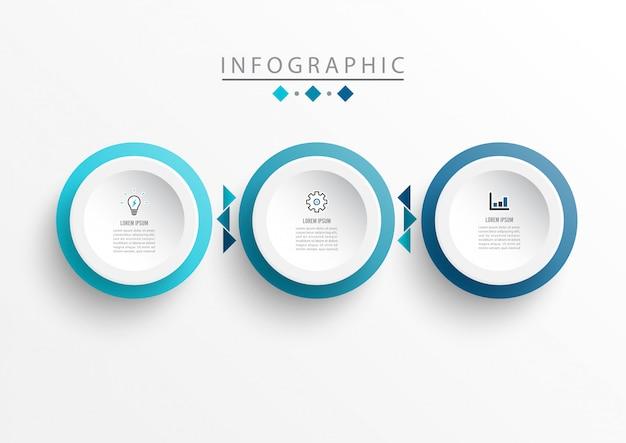 Szablon projektu etykiety plansza z ikonami i 3 opcje lub kroki. Premium Wektorów