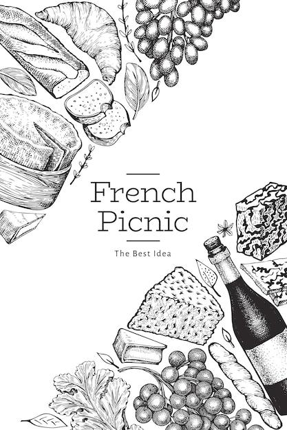 Szablon Projektu Ilustracja Francuskie Jedzenie. Ręcznie Rysowane Ilustracje Wektorowe Posiłek Piknikowy. Grawerowany Styl Różnych Przekąsek I Banerów Na Wino. Tło Vintage żywności. Premium Wektorów