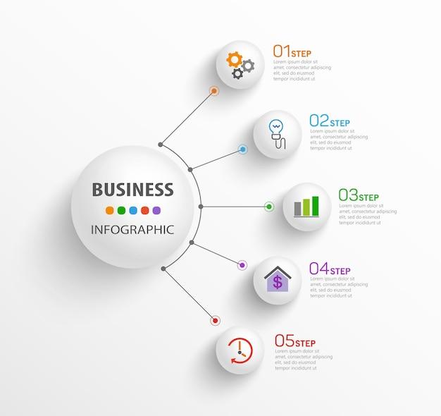 Szablon Projektu Infografika Nowoczesny Biznes Z 5 Krokami Premium Wektorów