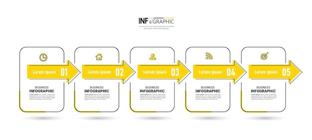 Szablon Projektu Infografiki Osi Czasu 5 Kroków Premium Wektorów