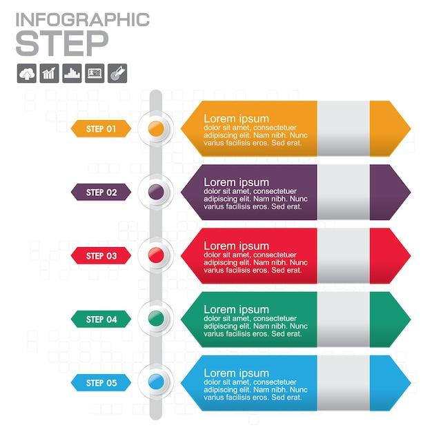 Szablon Projektu Infografiki Osi Czasu Z 5 Opcjami, Diagram Procesu Premium Wektorów