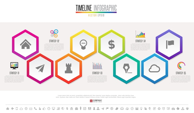 Szablon projektu infografiki osi czasu Premium Wektorów