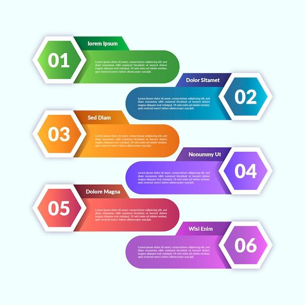 Szablon Projektu Infographic Gradientu Darmowych Wektorów