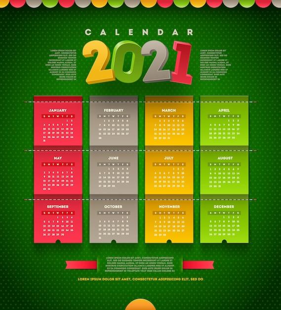 Szablon Projektu Kalendarza Na 2021 Rok Premium Wektorów