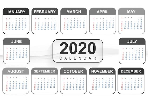 Szablon projektu kalendarza nowego roku 2020 Darmowych Wektorów