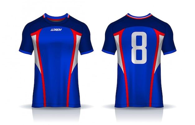 Szablon Projektu Koszulki Sportowej, Makieta Koszulki Piłkarskiej Dla Klubu Piłkarskiego. Jednolity Widok Z Przodu Iz Tyłu. Premium Wektorów