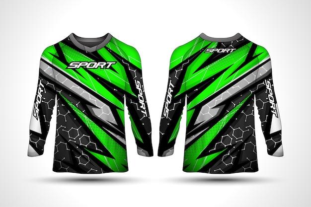 Szablon Projektu Koszulki Z Długim Rękawem, Sportowa Koszulka Motocyklowa Wyścigowa Premium Wektorów