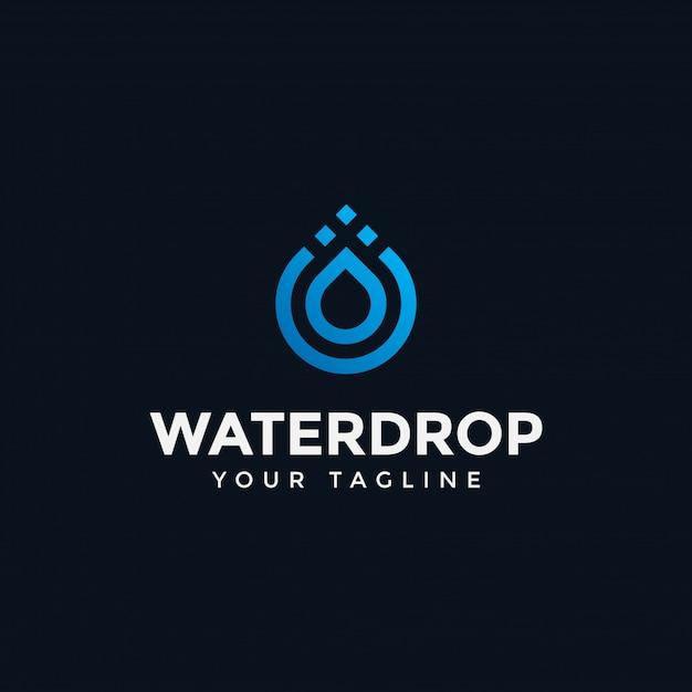 Szablon Projektu Linii Nowoczesny Streszczenie Kropla Wody Logo Premium Wektorów