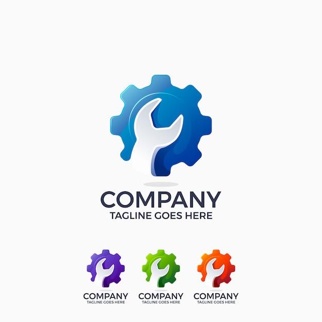 Szablon Projektu Logo Inżynierii Mechanika Klucz I Koło Zębate Premium Wektorów