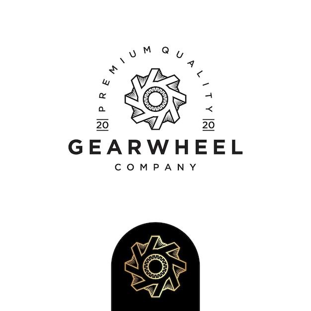Szablon Projektu Logo Koła Zębatego Premium Wektorów