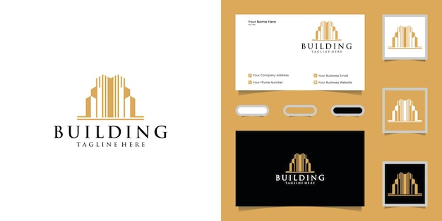 Szablon Projektu Logo Luksusowego Budynku I Wizytówki Premium Wektorów