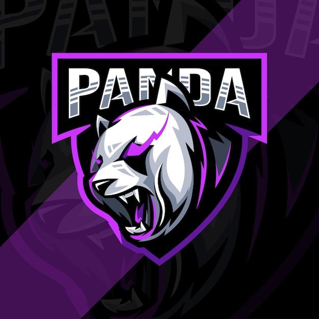 Szablon Projektu Logo Maskotka Wściekła Panda Premium Wektorów