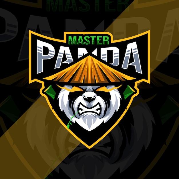 Szablon Projektu Logo Maskotki Głowy Pandy Premium Wektorów
