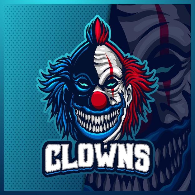Szablon Projektu Logo Maskotki Klauna Esport, Logo Jokera Do Gry Zespołowej Premium Wektorów