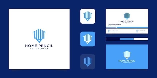 Szablon Projektu Logo Ołówek Do Domu. Minimalistyczne Logo Symbol Konspektu I Wizytówka Premium Wektorów