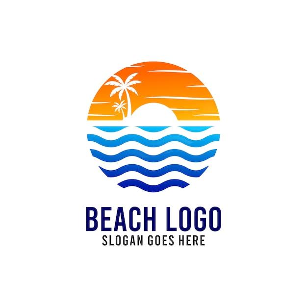 Szablon projektu logo plaży i słońca Premium Wektorów