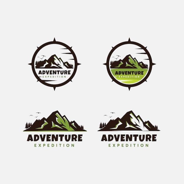 Szablon projektu logo przygody górskiej klasy premium Premium Wektorów
